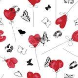 Графическая красная белая и черная картина символа любов с воздушными шарами сердца акварели, чернильными печатями губы и силуэта бесплатная иллюстрация