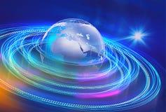 Графическая предпосылка земли и пути satalite в космосе Стоковое Изображение RF