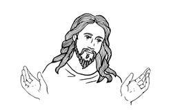 Графическая сторона Иисуса статуя jesus стороны золотистая руки раскрывают Стоковые Изображения RF