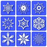Графические иконы Белые кристаллы снежинок   иллюстрация вектора