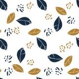 Графические листья магнолии и пятна джунглей Vector ультрамодная безшовная картина в цветах темносинего и мустарда Дизайн ткани Стоковое Фото
