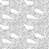 Графические киты летая в небо Твари моря и океана Картина фантазии вектора безшовная Дизайн страницы книжка-раскраски для взрослы иллюстрация вектора