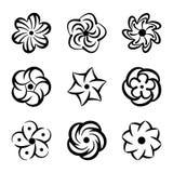 Графические установленные формы цветка Черные флористические элементы для украшения и красоты конструируют Творческое собрание ло Стоковое фото RF