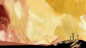 Графический абстрактный желтый цвет креста Голгофы предпосылки Стоковые Фотографии RF