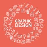 Графический дизайн подписывает вокруг линии концепции шаблона дизайна значка вектор Стоковые Фотографии RF