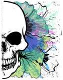 Графический дизайн футболки акварели черепа иллюстрация вектора