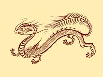 Графический дракон фантазии в японском стиле иллюстрация вектора