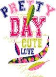 Графический дизайн влюбленности милого дня милый для футболок Стоковое Изображение RF