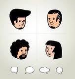Графический дизайн информации, бизнесмен, речь клокочет значок, голова Стоковые Изображения RF