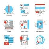 Графический дизайн и линия установленные значки развития сети Стоковое Изображение RF