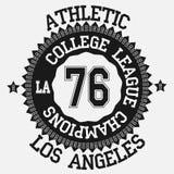 Графический дизайн Лос-Анджелес футболки, эмблема Калифорния Стоковое фото RF