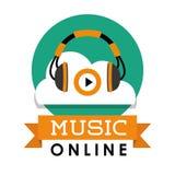 Графический дизайн музыки онлайн, иллюстрация вектора Стоковое фото RF