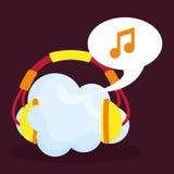 Графический дизайн музыки онлайн, иллюстрация вектора Стоковое Изображение RF