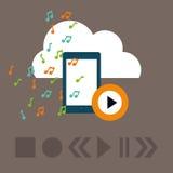 Графический дизайн музыки онлайн, иллюстрация вектора Стоковые Изображения