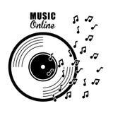 Графический дизайн музыки онлайн, иллюстрация вектора Стоковое Изображение