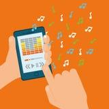 Графический дизайн музыки онлайн, иллюстрация вектора Стоковая Фотография RF