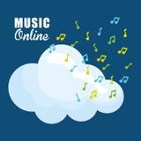 Графический дизайн музыки онлайн, иллюстрация вектора Стоковое Фото