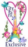 Графический дизайн Парижа города для футболки EPS Стоковое фото RF
