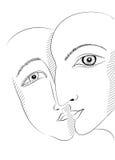 Графический дизайн стиля с человеком и женщиной в влюбленности Стоковые Изображения RF