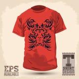Графический дизайн футболки - абстрактный племенной тигр Стоковое фото RF