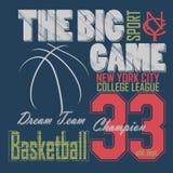 Графический дизайн футболки баскетбола New York Стоковые Фото