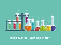 Графический дизайн химической лаборатории, иллюстрации вектора Стоковые Изображения RF