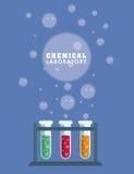 Графический дизайн химической лаборатории, иллюстрации вектора Стоковые Изображения