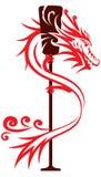 Графический дизайн шлюпки дракона иллюстрация вектора