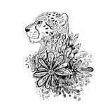 Графический черный гепард вектора Стоковые Изображения
