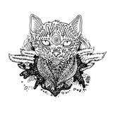 Графический черный кот вектора Стоковая Фотография RF