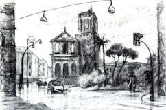 Графический чертеж, иллюстрация Европейское vew иллюстрация вектора