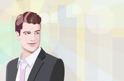 Графический чертеж успешного бизнесмена в черных костюме и связи outdoors Стоковые Изображения RF