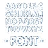 Графический шрифт Handmade шрифт Sans Serif, тонкие линии Нарисованный рукой алфавит литерности каллиграфии также вектор иллюстра Стоковые Изображения RF