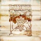 Графический ярлык, символ вина Ветвь виноградины Отсутствие трассировки Стоковая Фотография RF
