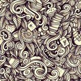 Графической картина художнических doodles времени чая нарисованная рукой безшовная Стоковое Фото