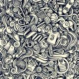 Графической картина художнических doodles спорта нарисованная рукой безшовная Стоковая Фотография