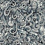 Графической картина художнических doodles Hippie нарисованная рукой безшовная понедельник бесплатная иллюстрация