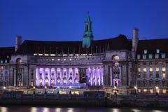 Графство Hall на ноче, Лондон стоковая фотография