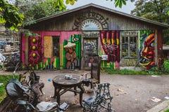 Граффити в районе Christiania в Копенгагене стоковая фотография