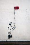 Граффити динамита используя провод смертной казни через повешение электрический на стене в Гонконге Стоковое Изображение RF