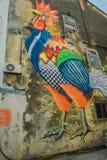 Граффити искусства улицы в майне Em Che, одной из самых узких улиц в центре города городка Джордж, Малайзия Стоковое фото RF