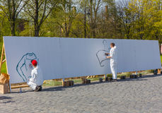 Граффити на белой стене Стоковое Изображение