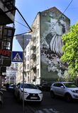 Граффити на старом здании на улицах Киева Стоковое фото RF