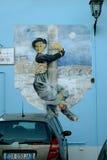 Граффити на стене от фильмов Federico Fellini, Италии Стоковая Фотография