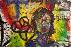Граффити на стене Lennon Стоковое Фото