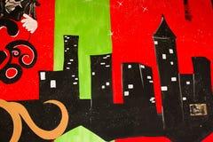 Граффити на bandoned строя стене Стоковое Фото