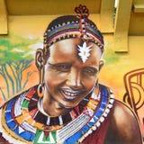 Граффити представляя африканскую женщину masai Стоковое Фото