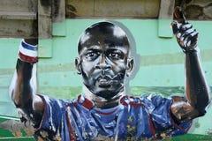 Граффити представляя thuram lilian футболиста стоковые изображения rf