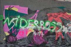 Граффити с сочинительством на стене Стоковая Фотография RF