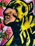 Граффити улицы на общественном портрете стены шамана в стиле искусства шипучки рэпа Novi унылая Сербия 08 14 2010 Стоковое Фото